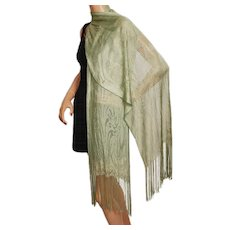 Vintage 1930s Stole Scarf Fringed Machine Lace Rayon Shawl Mint Green