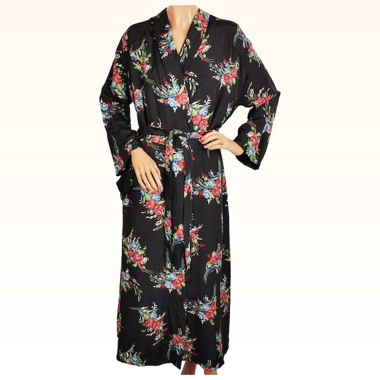 Vintage 1940s Ladies Dressing Gown Floral Chintz Rayon Faille ...