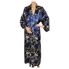 Vintage Ladies Kimono Style Dressing Gown Gold Bamboo Pattern Blue Satin Lounging Robe - Red Tag Sale Item