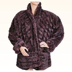 Vintage 1980s Purple Dyed Rabbit Fur Jacket Coat Ladies Size L