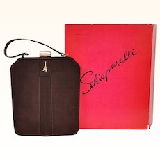 RESERVED Vintage Schiaparelli Paris Purse 1950s Brown Suede Handbag with Box