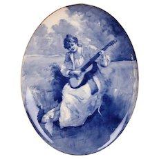 Antique Royal Doulton Burslem FLOW BLUE Children Series Ware Wall Plaque Lady