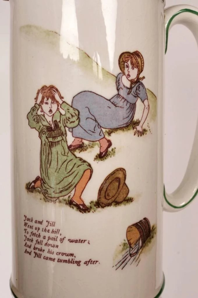 ff9ba1308a8 Antique KATE GREENAWAY Pitcher Ridgways Pottery w Childrens Illustrations  1890s