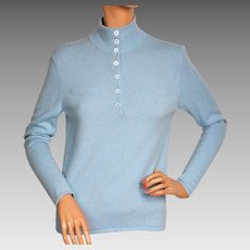 Vintage 1990s Blue Cashmere Pullover Sweater - Eric Bompard - Ladies - M