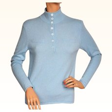 Vintage 1990s Blue Cashmere Pullover Sweater - Eric Bompard - Ladies - M