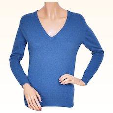 Vintage 1970s Scottish Cashmere Sweater Blue Pullover by John Laing Scotland - Ladies Size M