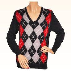 Vintage 1970s Cashmere Sweater Black w Argyle Pattern - Made in England - Ladies Size M