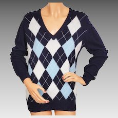 Vintage 1970s Scottish Cashmere Sweater Blue Argyle Pattern Made in Scotland Ladies Size L