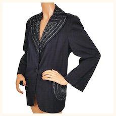 Vintage 1940s Beaded Suit Jacket Navy Blue Ladies L XL