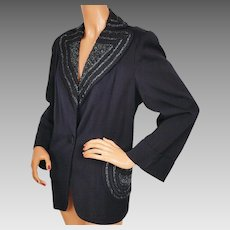 Vintage 1940s Beaded Suit Jacket Navy Blue Ladies L XL