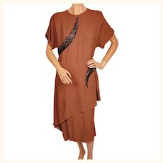 Vintage 1940s Dress Beaded Brown Rayon Crepe Size L