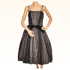 Vintage 1950s Black Party Dress Eyelet Silk Organza w Spaghetti Straps Size M