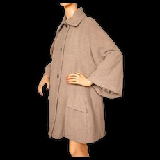 Vintage 1950s Swing Coat Beige Wool Ladies Size L