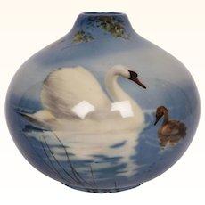 Vintage Royal Doulton TITANIAN Glaze SWAN Bud VASE Signed F Henri