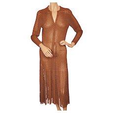 Vintage 1930s Crochet Knit Dress Brown Rayon  - Size M