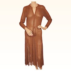 Vintage 1930s Crochet Knit Dress Brown Rayon  - Size M