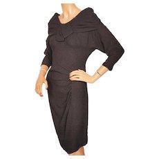 RESERVED Vintage 1950s Bombshell Dress Black Crepe Size Medium