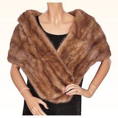 Vintage Pastel Mink Fur Stole 1960s Shoulder Wrap Fourrures Emond Quebec