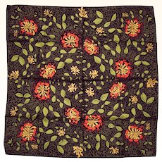 Vintage Liberty of London Silk Scarf Floral Pattern Orange Flowers on Black and Green