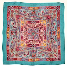Vintage 1930s Liberty of London Paisley Silk Scarf Multicoloured w Turquoise Border