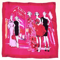 Vintage Fashion Models Silk Scarf Shocking Pink 34 x 33 Made in Italy