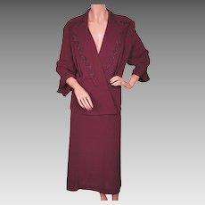 Vintage 1940s Ladies Suit Beaded Burgundy Rayon Crepe - Size XL