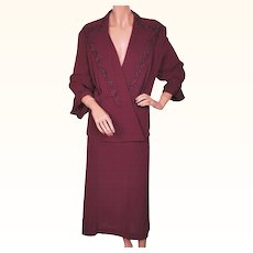 Vintage 1940s Ladies Suit Beaded Burgundy Rayon Crepe - Size XL