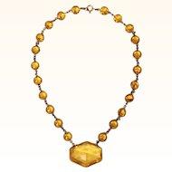 Art Deco 1930s Czech Topaz Glass Necklace Made in Czechoslovakia