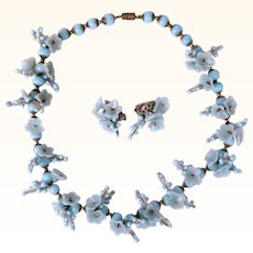 Vintage Murano Glass Necklace & Earrings Blue Opaque Flowers Beads Italy