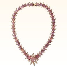 Vintage D'Orlan Faux Opal and Rhinestone Necklace