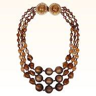 Vintage Hobe Triple Strand Glass and Plastic Necklace w Rhinestone Clasp