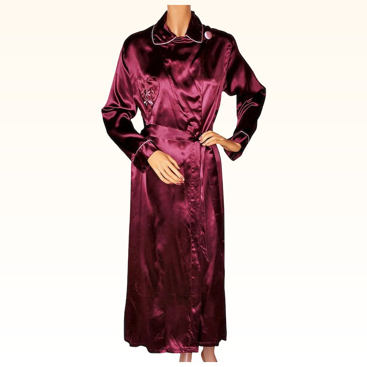 Vintage 1940s Satin Dressing Gown 40s Burgundy Lounging Robe Ladies ...