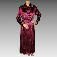 Vintage 1940s Satin Dressing Gown 40s Burgundy Lounging Robe Ladies Size M