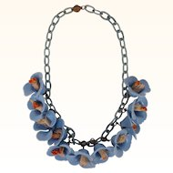 Vintage 1930s Bluebells Celluloid Flower Necklace