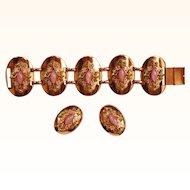 Vintage Enamel Copper Demi-Parure Bracelet and Earrings w Pink Stones