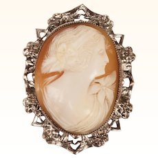 Vintage Hand Carved Shell Cameo Pendant Brooch Silver Plated Mount
