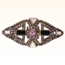 Art Deco Sterling Silver Marcasite Brooch w Amethyst Onyx and MOP