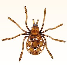 Vintage Spider Brooch Gold Toned with Topaz Rhinestones 3""