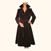 Vintage 1970s Brown Velvet Coat  -  Lou Ritchie - Sport Togs - Canada - Size M 10