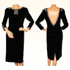 Vintage 1950s Beaded Black Velvet Cocktail Party Dress w Low Back