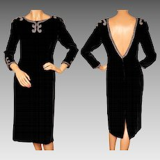 Vintage 1950s Beaded Black Velvet Cocktail Party Dress w Low Back