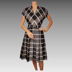 Vintage 1950s Dress Cotton Silk Organdy Black Grey Check Size M