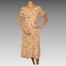 RESERVED Vintage 1940s Floral Novelty Print Rayon Dress Size M L