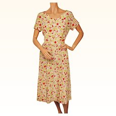 Vintage 1940s Floral Novelty Print Rayon Dress Size M L