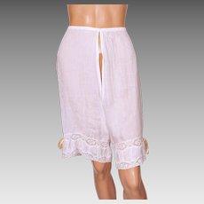 Antique Victorian White Cotton Pantalets Long Drawers Underwear