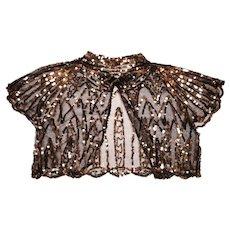 RESERVED - Vintage 1930s Bolero Jacket Gold Sequins on Black Net Ladies Size S M