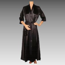 RESERVED Vintage 1940s Black Satin Dressing Gown 40s Lounging Robe Ladies Size M