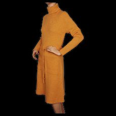 Vintage 1970s Orange Wool Knit Dress St Michael Made in Britain Size M