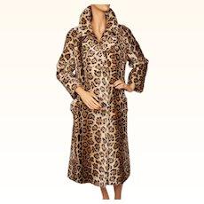 Vintage 60s Leopard Faux Fur Coat 1960s Acrylic Pile Lou Ritchie Ladies Size M