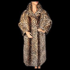 RESERVED - Vintage Leopard Print Stencilled Mouton Fur Coat Sheared Lamb Ladies Size L